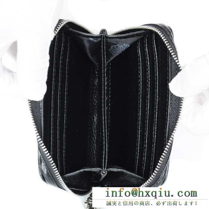 人気定番得価CHROME HEARTS クロムハーツ 財布 ラウンドファスナー 小さい コンパクト シンプル ミニ サイズ ウォレット