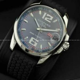 自動巻き 3針 【Chopard】ショパール メンズ腕時計 日付表示 夜光効果 サファイヤクリスタル風防 ラバー