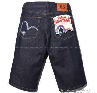 最安値本物保証 2017 エビスジーンズ偽物 春夏新作 EVISU メンズ デニムパンツ ネイビー ジーパン お洒落 ショートパンツ