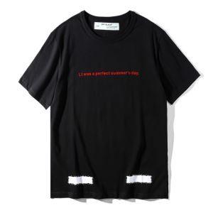 オフホワイト Tシャツ 通販OFF-WHITE2018春夏新品メンズ大人気コットンクルーネック英字プリント半袖トップスレッドブラックホワイト