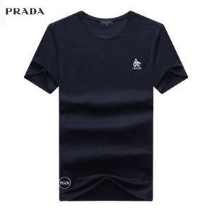 春夏人気セール新品PRADAプラダ tシャツ メンズ抗菌防臭無地クルーネックカットソートップス半袖3色可選