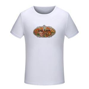 春夏人気定番安いPRADAプラダ スーパー コピーロゴプリントクルーネックTシャツ半袖男女兼用2色可選