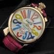 ガガミラノ腕時計 GaGaMILANO ホワイト文字盤 マルチカラーインデックス 手巻 レザー