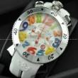 ガガミラノ腕時計 GaGaMILANO 日本製クオーツ 6針 クロノメーター搭載 ラバー マルチカラーインデッ クス デザイン