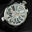 GaGaMILANO ガガミラノ腕時計 日本製クオーツ ホワイト ケース  ブラック インデックス レザー  2針 機械式(手巻き)/夜光効果
