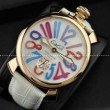 GaGaMILANO ガガミラノ腕時計 2針 機械式(手巻き)/夜光効果 マルチカラーインデックス インデックス ケース
