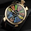 GaGaMILANO ガガミラノ腕時計 日本製クオーツ  ケース マルチカラーインデックス ベルト ブラック