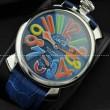 GaGaMILANO ガガミラノ腕時計 日本製クオーツ ブルー ベルト マルチカラーインデックス 2針 機械式(手巻き)/夜光効果