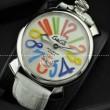 GaGaMILANO ガガミラノ腕時計 ブルー ベルト 2針 機械式(手巻き)/夜光効果 ホワイト ベルト
