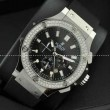 日本製クオーツVK Hublotウブロ メンズ腕時計 日付表示 ラバー サファイヤクリスタル風防 ダイヤベゼル シルバー