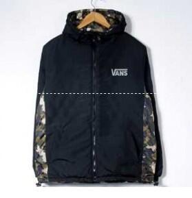 2017-2017年モデル入荷 VANS バンズ ダウンジャケット メンズ ブラック カモ ロゴ入り ブルゾン 防寒着アウター コート メンズファッション