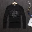 versaceヴェルサーチ tシャツ コピー最安値高品質メンズトップス長袖uネックロンTシャツメンズファッション3色可選黒い白い深紫